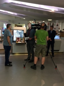 Gary on left and Will far right during interviews for BBC